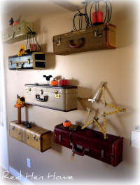 Turn Vintage Suitcases Into A Unique Shelf Wall