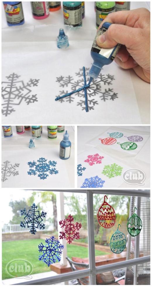 Puffy Paint Window Decorations