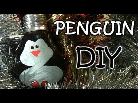Homemade Christmas Ornaments – Penguin from Light Bulb | video