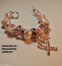 "Can You ""Fight Like a Woman?"" Breast Cancer Bracelet  This would be a Great Gift for any woman either Fighting the Fight, or for a woman who has Won the Fight against Breast Cancer! Get it today, as this is a one of a Kind Piece made by EnchantedJewelry!!  This bracelet also features a good size Silver Pink Ribbon, that is all Silver with Pink Rhinestones!!  This breast Cancer Bracelet, is pre-made and ready to ship! So get yours Today, before it's Gone!! PRICE$12"