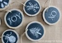 Log Slice Chalkboard Ornaments