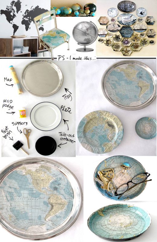 DIY Platter covered with world map