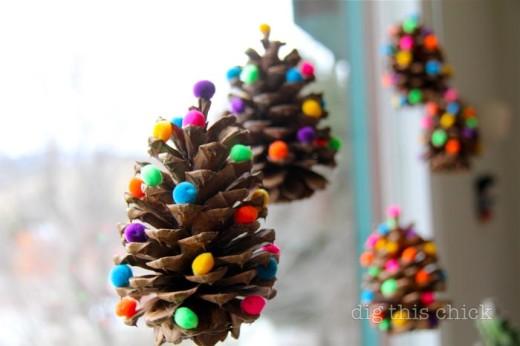 Ponderosa pinecones  + pom poms Christmas Ornaments