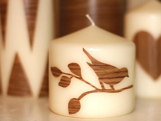 diy woodgrain candles