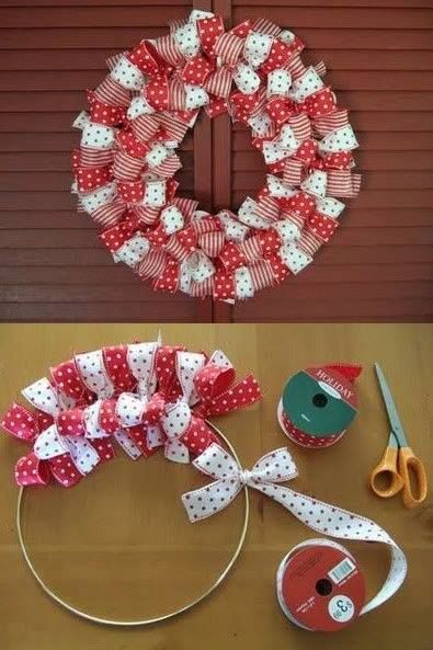 DIY Ribbon Wreath in Christmas Colors
