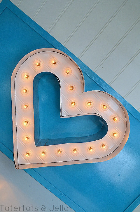 Beadboard and Metal Marquee Letter Heart   DIY