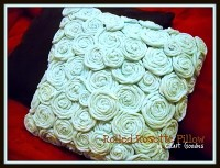Rolled Rosette Pillow | DIY Reuse T-shirts