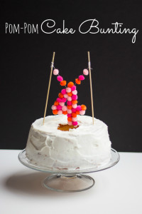 Pom-Pom Cake Topper |  Covered with cute pompoms and it's great for decoration every cake or cupcake  You will Need : – Small pom-poms    – Piece of cardboard   –  2 bamboo skewers     – Pen   – Ruler  – Needle and thread  – Hot glue gun  Have Fun… :)