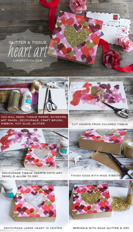 DIY Glitter Heart Art   DIY valentines day Ideas
