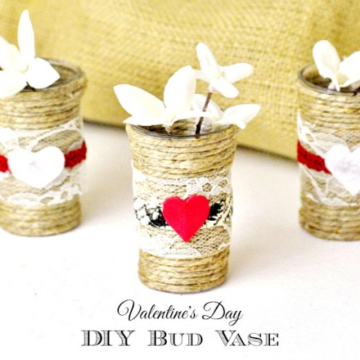 DIY Valentine's Day Bud Vase Tutorial – The Rebel Chick  Materials:     –  Small shot glasses   –  Sisal rope  –   Scissors     – Hot glue gun    – Embellishments: lace, trimming, felt, etc.