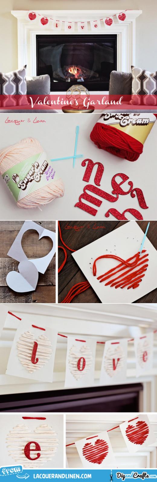 DIY: Yarn Heart Garland | Valentines Day Ideas