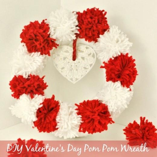 Easy Valentine's Day Crafts – Valentine's Day Pom Pom Wreath Tutorial from The Rebel Chick  Materials You need: – Red yarn – White yarn – Scissors – Circular Styrofoam wreath form – Hot glue gun – Embellishments (optional)