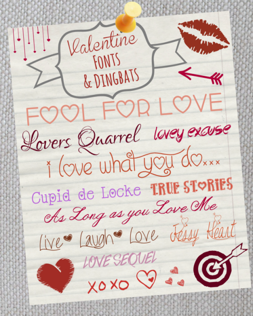 Free Valentine Fonts & Dingbats from Made in a Day