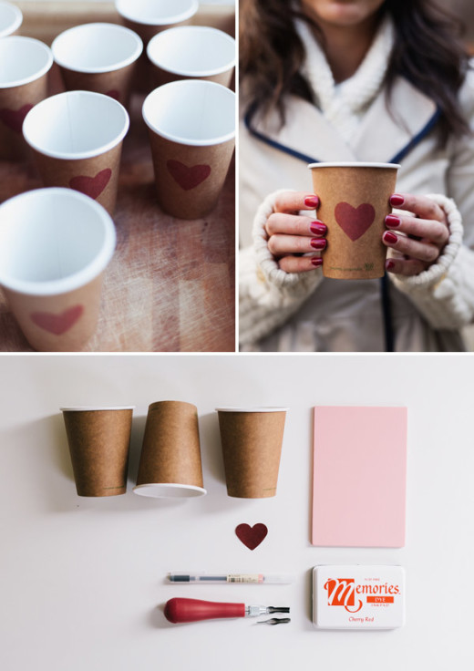Heart Stamp Cups | DIY Valentines day Ideas