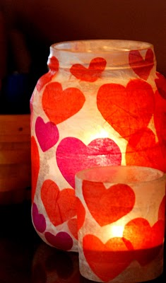 DIY Valentine Heart Candle Glass Jar