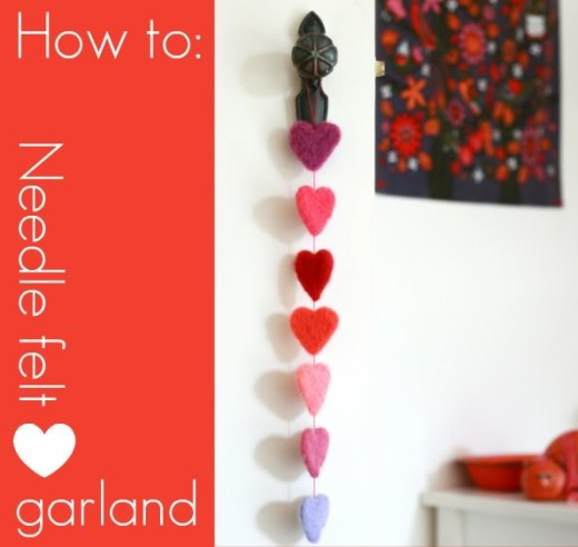 DIY Needle felt Heart Garland | Valentines Day Ideas