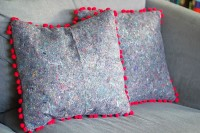 DIY   Painters Cloth Cushion Cover You Will Need:  – Painterscloth  – PomPom ribbon  – Cushion  – Scissors   -Sewing Machine
