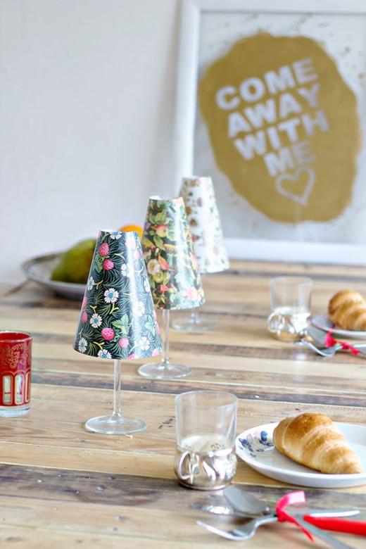 DIY | Wineglass Shade  Transform a simple glass of wine into a warm mini-lamp