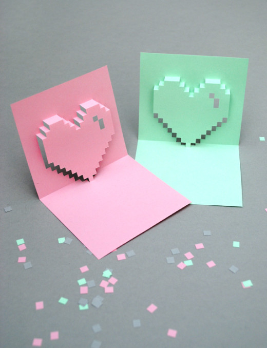 Popup pixel valentines card DIY Valentines Day Ideas