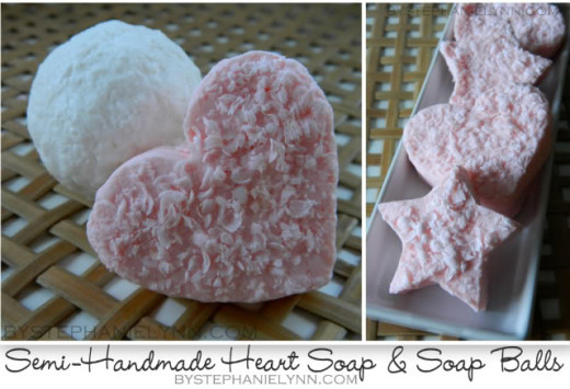 Semi Handmade Valentine's Day Heart Soaps   Materials Needed: – Bar of Soap – Kitchen Box Grater – Water – Cookie Cutters {optional}