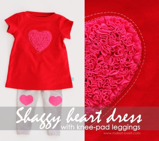 Shaggy Heart Valentine's Dress with Heart Knee-Pad leggings | From recycled Tshirts