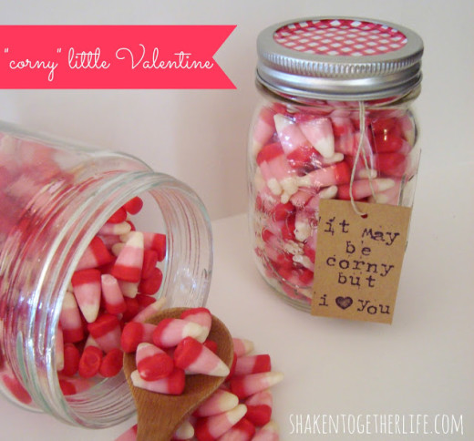 Valentine Candy Corn Mason Jar Gift | DIY Valentines Day Ideas