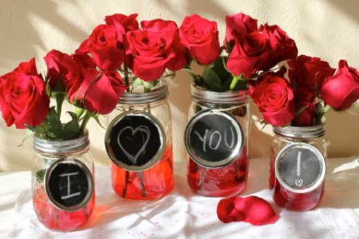 Valentine's Mason Jar Vases | Valentines Day Ideas