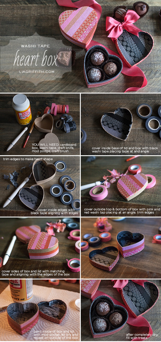 Washi Tape Heart Box From Lia Griffith #DIY #Valentines