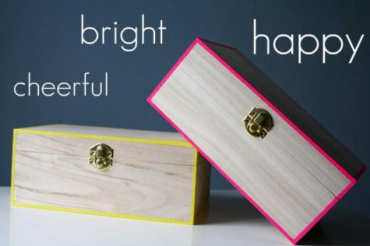 DIY: Neon Edged Boxes