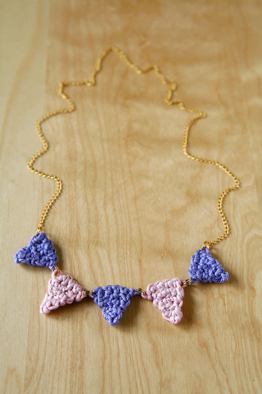Caught On A Whim: Let's Crochet: Bunting Necklace