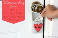 "Turn a Shampoo Bottle into a Door Knob ""Mailbox"" For your valentine"