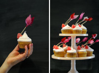 Cupid's Arrow Valentine Cupcake Toppers DIY  Materials:  -wooden skewers,  -scissors,  -red & pink tissue paper, -toothpicks,  -candy jelly hearts