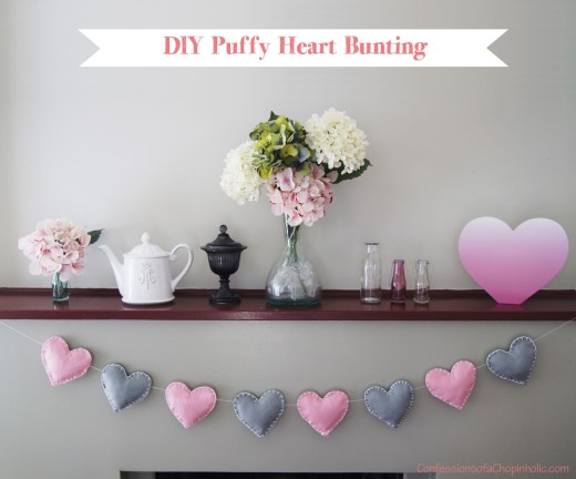 DIY Puffy Heart Bunting    You will need:     -A few pieces of felt in different colours    – Scissors     – Thick needles     – Wool or thick cotton    – Cushion stuffing   – Heart cut-out (download link in source url)