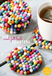 DIY Wool Felt Ball Coasters   Inspired by Charm