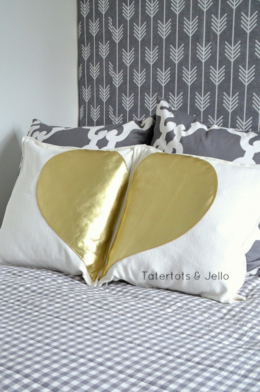 "Gold Leather ""You Complete Me"" Valentine Pillows! DIY Valentines day Gifts and Ideas from Tatertots and Jello"