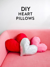"Heart Pillows | DIY Valentines  Materials: • fabric (two 18"" squares) • thread to match fabric • stuffing • pins • needle • paper for template • sewing machine"