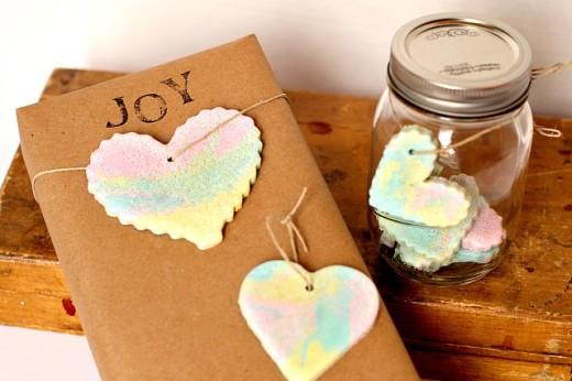 Rainbow Marbled Salt Dough Heart Ornaments | DIY valentines Day Ideas