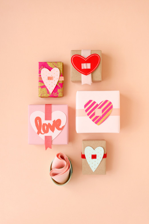 Valentine Present Toppers |  From Julep Materials:      – White cardstock    – Scissors   – Craft Knife    – Ribbon     – Tape