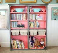 Coral & grey book shelves One color on the outside and another in the inside of a book case!