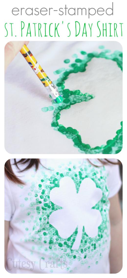 Cutesy Crafts: Eraser-Stamped St. Patrick's Day Shirt
