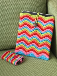 Rainbow Stripes Tablet or Phone | Yarn | Free Knitting Patterns | Crochet Patterns | Yarnspirations