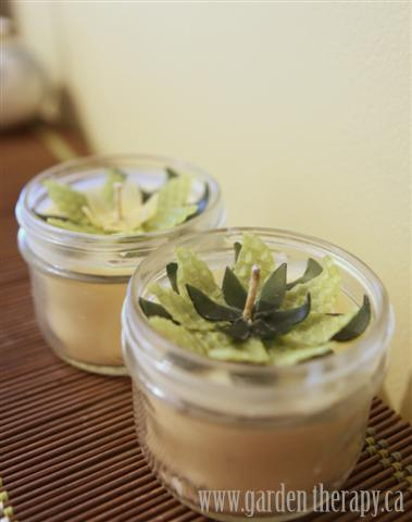 Beeswax Flower Mason Jar Candles  From Garden Therapy