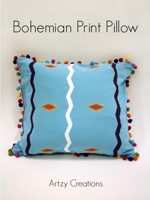 Bohemian Print Pillow with Pom Poms | From artzycreations.com