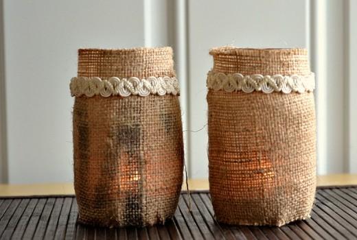 Burlap tea candle luminaries   DIY Stuff