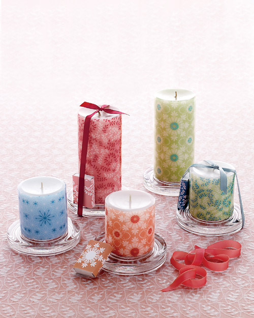 Decorative Decal Pillar Candles | Step-by-Step | DIY Craft How To's and Instructions from Martha Stewart