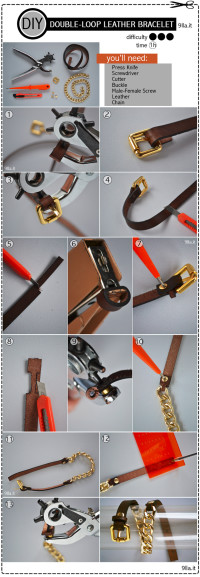 DIY DOUBLE-LOOP LEATHER BRACELET From 9lla