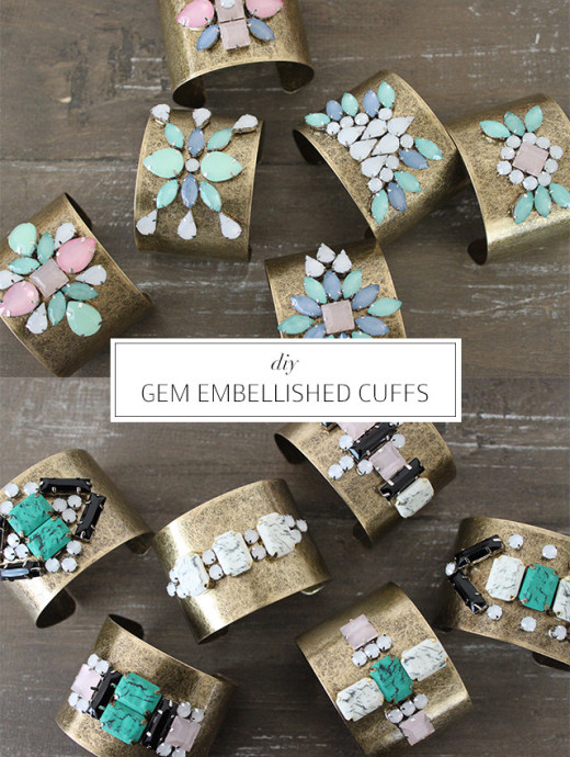 DIY GEM EMBELLISHED CUFFS From a pair & a spare