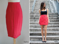 DIY RED JEWELED SKIRT