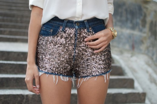 DIY SEQUIN EMBELLISHED DENIM SHORTS From a pair & a spare