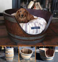 DIY Wine Barrel Dog Bed